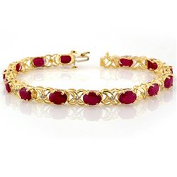 16.05 CTW Ruby & Diamond Bracelet 10K Yellow Gold - REF-63Y3N - 10479