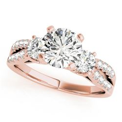 1.5 CTW Certified VS/SI Diamond 3 Stone Solitaire Ring 18K Rose Gold - REF-383W3H - 28027