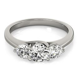 2 CTW Certified VS/SI Diamond 3 Stone Solitaire Ring 18K White Gold - REF-499F5M - 28014