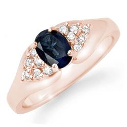 0.90 CTW Blue Sapphire & Diamond Ring 14K Rose Gold - REF-31W8H - 12453
