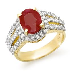 4.70 CTW Ruby & Diamond Ring 14K Yellow Gold - REF-115Y5N - 13151