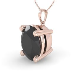 5.0 CTW Oval Black Diamond Designer Necklace 18K Rose Gold - REF-128T2X - 32369