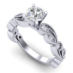 1.01 CTW VS/SI Diamond Solitaire Art Deco Ring 18K White Gold - REF-218M2F - 37316