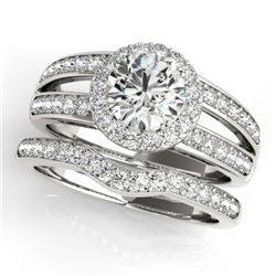 1.91 CTW Certified VS/SI Diamond 2Pc Wedding Set Solitaire Halo 14K White Gold - REF-421T6X - 31232