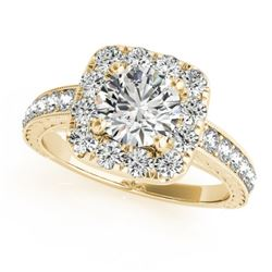 1.11 CTW Certified VS/SI Diamond Solitaire Halo Ring 18K Yellow Gold - REF-169R6K - 26547