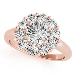 1.38 CTW Certified VS/SI Diamond Solitaire Halo Ring 18K Rose Gold - REF-226N2Y - 27013
