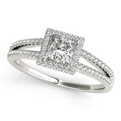 0.85 CTW Certified VS/SI Princess Diamond Solitaire Halo Ring 18K White Gold - REF-139H8W - 27147