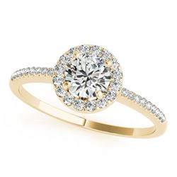 1 CTW Certified VS/SI Diamond Solitaire Halo Ring 18K Yellow Gold - REF-185X3T - 26352