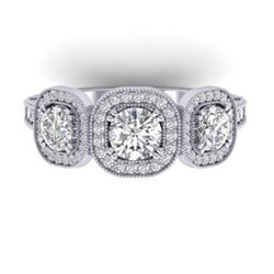 2.25 CTW Certified VS/SI Diamond 3 Stone Micro Halo Ring 14K White Gold - REF-236Y2N - 30438