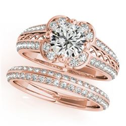 1.21 CTW Certified VS/SI Diamond 2Pc Wedding Set Solitaire Halo 14K Rose Gold - REF-162R2K - 31236