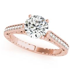 0.65 CTW Certified VS/SI Diamond Solitaire Antique Ring 18K Rose Gold - REF-113F6M - 27370