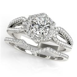 1.07 CTW Certified VS/SI Diamond 2Pc Wedding Set Solitaire Halo 14K White Gold - REF-142F2M - 31148