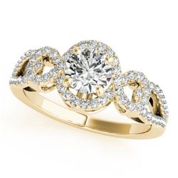 1.15 CTW Certified VS/SI Diamond Solitaire Halo Ring 18K Yellow Gold - REF-212T2X - 26684