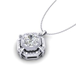 0.75 CTW VS/SI Diamond Solitaire Art Deco Stud Necklace 18K White Gold - REF-202H5W - 36878