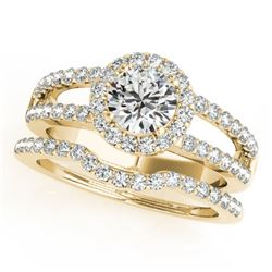 1.51 CTW Certified VS/SI Diamond 2Pc Wedding Set Solitaire Halo 14K Yellow Gold - REF-188K5R - 30878