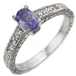 0.66 CTW Tanzanite & Diamond Ring 18K White Gold - REF-45T5X - 10898