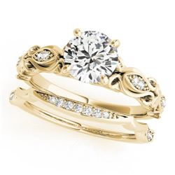 0.71 CTW Certified VS/SI Diamond Solitaire 2Pc Wedding Set Antique 14K Yellow Gold - REF-133M5F - 31