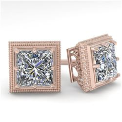1.0 CTW VS/SI Princess Diamond Stud Solitaire Earrings 18K Rose Gold - REF-187K5R - 35960