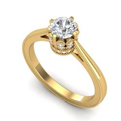 0.81 CTW VS/SI Diamond Art Deco Ring 18K Yellow Gold - REF-135T8X - 36826