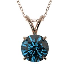 1 CTW Certified Intense Blue SI Diamond Solitaire Necklace 10K Rose Gold - REF-134X5T - 33189