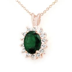1.80 CTW Emerald & Diamond Pendant 14K Rose Gold - REF-32W8H - 13579