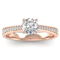 1.01 CTW Certified VS/SI Diamond Solitaire Art Deco Ring 14K Rose Gold - REF-176K5R - 30382
