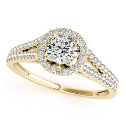0.80 CTW Certified VS/SI Diamond Solitaire Halo Ring 18K Yellow Gold - REF-130X5T - 26645