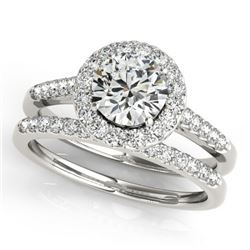 0.96 CTW Certified VS/SI Diamond 2Pc Wedding Set Solitaire Halo 14K White Gold - REF-140K2R - 30783