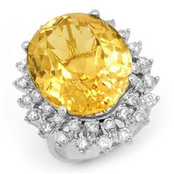 20.0 CTW Citrine & Diamond Ring 14K White Gold - REF-202X2T - 14337