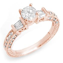 1.08 CTW Certified VS/SI Diamond Ring 14K Rose Gold - REF-117H3W - 10355