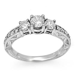 0.95 CTW Certified VS/SI Diamond Ring 18K White Gold - REF-120X2T - 11916