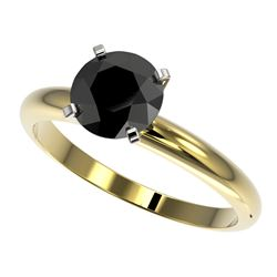 1.50 CTW Fancy Black VS Diamond Solitaire Engagement Ring 10K Yellow Gold - REF-47X3T - 32927