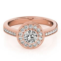 0.80 CTW Certified VS/SI Diamond Solitaire Halo Ring 18K Rose Gold - REF-130M4F - 26902