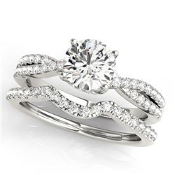 0.95 CTW Certified VS/SI Diamond Solitaire 2Pc Wedding Set 14K White Gold - REF-137M6F - 31910