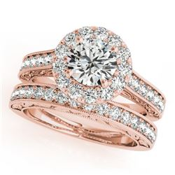 2.63 CTW Certified VS/SI Diamond 2Pc Wedding Set Solitaire Halo 14K Rose Gold - REF-591F2M - 30955
