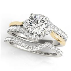 1.31 CTW Certified VS/SI Diamond Bypass Solitaire 2Pc Set Two Tone 14K White & Yellow Gold - REF-150