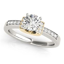 0.61 CTW Certified VS/SI Diamond Solitaire Ring 18K White & Yellow Gold - REF-119H3W - 27439