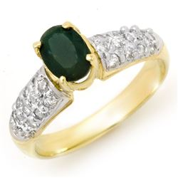 1.50 CTW Emerald & Diamond Ring 10K Yellow Gold - REF-42K9R - 13263