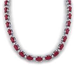 71.85 CTW Ruby & VS/SI Certified Diamond Eternity Necklace 10K White Gold - REF-563R6K - 29515