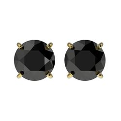1.61 CTW Fancy Black VS Diamond Solitaire Stud Earrings 10K Yellow Gold - REF-43T6X - 36614