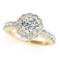 1.75 CTW Certified VS/SI Diamond Solitaire Halo Ring 18K Yellow Gold - REF-408K4R - 26846