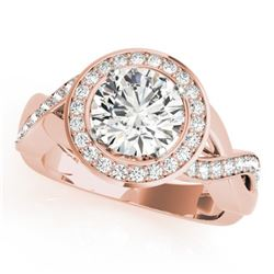 1.5 CTW Certified VS/SI Diamond Solitaire Halo Ring 18K Rose Gold - REF-243T5X - 26171