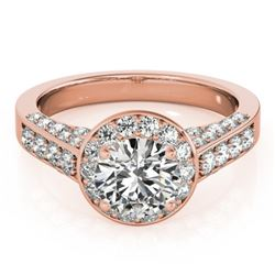 1.5 CTW Certified VS/SI Diamond Solitaire Halo Ring 18K Rose Gold - REF-242H2W - 26782
