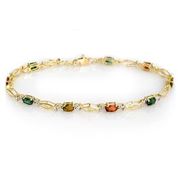 3.0 CTW Multi-Color Sapphire Bracelet 10K Yellow Gold - REF-30R8K - 13409
