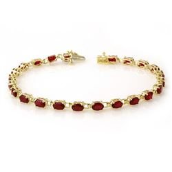 7.0 CTW Ruby Bracelet 10K Yellow Gold - REF-47X8T - 13452