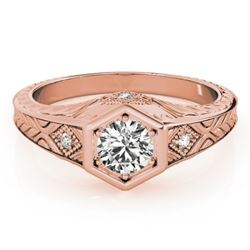 0.40 CTW Certified VS/SI Diamond Solitaire Antique Ring 18K Rose Gold - REF-70M9F - 27223