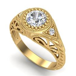 1.07 CTW VS/SI Diamond Art Deco Ring 18K Yellow Gold - REF-321H2W - 36886