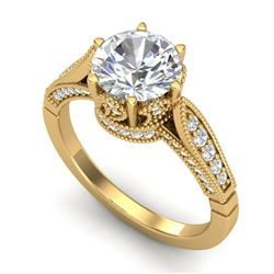 2.2 CTW VS/SI Diamond Art Deco Ring 18K Yellow Gold - REF-725H5W - 37240