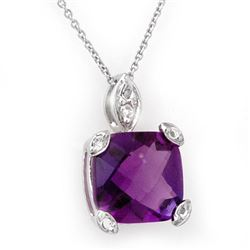 5.10 CTW Amethyst & Diamond Necklace 18K White Gold - REF-40W2H - 10553