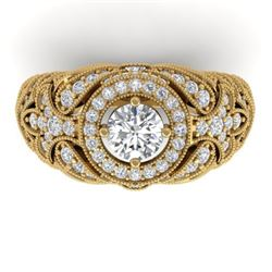 2.35 CTW Certified VS/SI Diamond Art Deco Halo Ring 14K Rose Gold - REF-293F3M - 30410